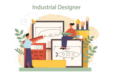 Industrial designer concept. Artist creating modern environment object. Product usability design, manufacture development. Isolated vector illustration