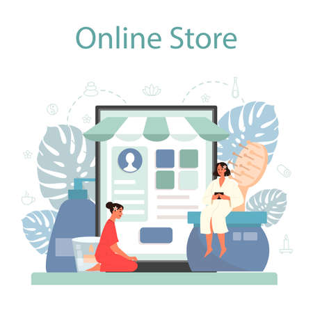 Massage and masseur online service or platform. Spa procedure in beauty salon. Back treatment and relaxation. Online store. Isolated flat illustration