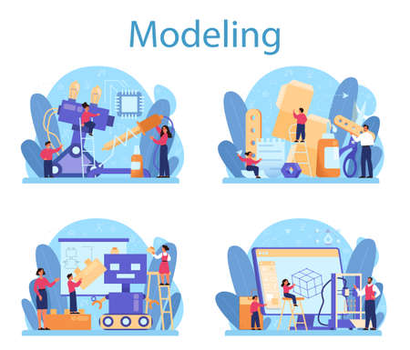 Modeling school subject concept set. Engineering, crafting and constraction. Idea of futuristic technology, 3d modelling, robotics. Isolated vector illustration