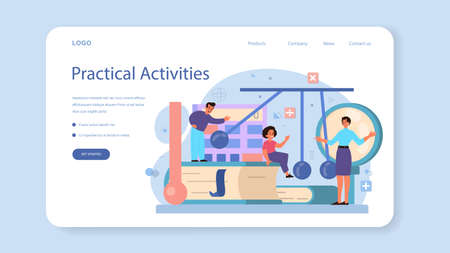 Physics school subject web banner or landing page. Scientist explore electricity, magnetism, light wave and forces. Physics course and lesson. Isolated vector illustration
