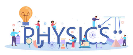 Physics school subject typographic header concept. Scientist explore electricity, magnetism, light wave and forces. Theoretical and practical study. Isolated vector illustration