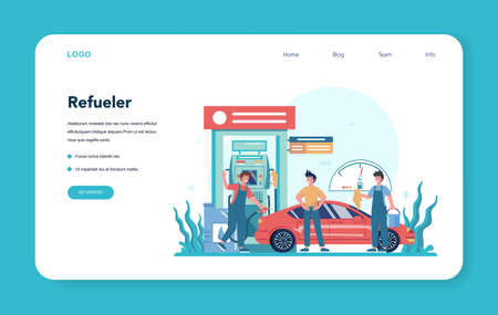 Gas station worker or refueler web banner or landing page. Worker in uniform working with a filling gun. Man pouring fuel into car in petroleum station. Isolated vector illustration