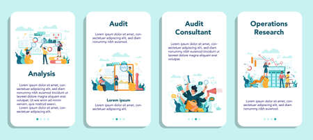 Audit mobile application banner set. Business operation research and analysis. Financial inspection and analytics. Isolated flat vector illustration Ilustrace