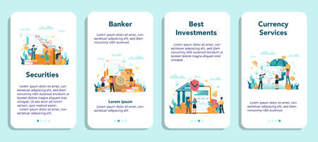 Banker or banking mobile application banner set. Idea of finance income, money saving and wealth. Depositing and investing a contribution in the bank. Vector illustration in flat style Ilustración de vector