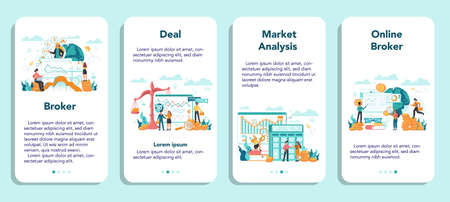 Financial broker mobile application banner set. Income, investment and saving concept. Business character making financial operation. Isolated vector illustration