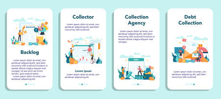 Debt collector mobile application banner set. Pursuing payment of debt owed by person or businesses company. Collecting agency looking for people who doesn't pay bills. Vector illustration Banque d'images - 151509381