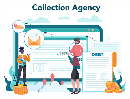 Debt collector online service or platform. Pursuing payment of debt owed by person or businesses company. Website. Vector illustration in cartoon style Banque d'images - 151504983