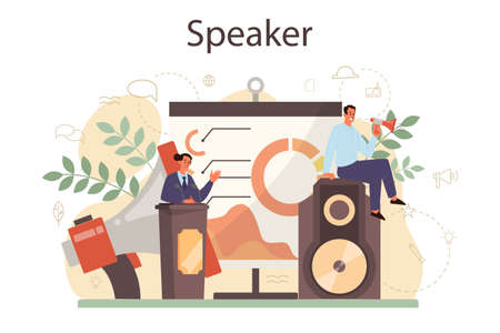 Professional speaker, commentator or voice actor concept. Person speaking to a microphone. Broadcasting or public address. Business seminar speaker. Isolated vector illustration
