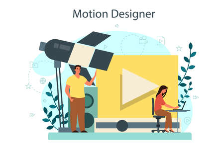 Motion or video designer. Artist create computer animation for multimedia project. Digital technology for website and advertising. Animation editor, cartoon production. Isolated vector illustration