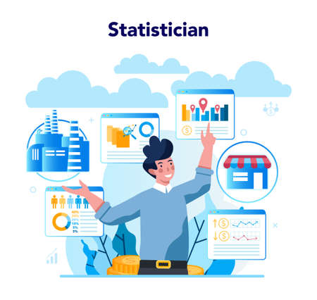 Statistician and statistic concept. Specialist working with data analyzing graphs, charts and diagrams, processing information. Isolated vector illustration Illusztráció