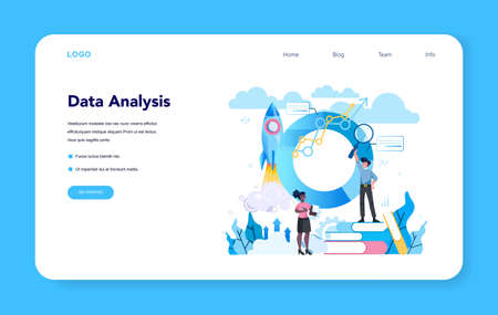 Statistician and statistic web banner or landing page. Specialist working with data analyzing graphs, charts and diagrams, processing information. Isolated vector illustration