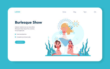 Female web banner or landing page. Pole dancing girl in club, posing and dancing for people. Isolated vector illustration