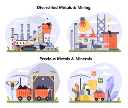 Precious metal and minerals, non-ferrous metal and mining set. Steel or metal production process. Metallurgy industry, mineral extraction. Global industry classification standard. Vector illustration