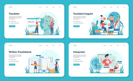 Translator and translation service web banner or landing page set. Polyglot translating document, books and speech. Multi language translator using dictionary. Isolated vector illustration