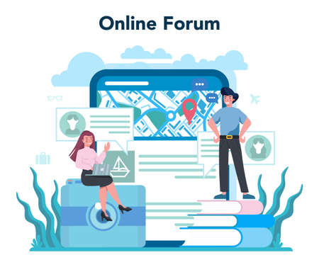 Travel agent online service or platform. Office worker selling tour, cruise, airway or railway tickets. Online forum. Isolated vector illustration