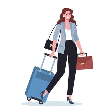 Business person having a business trip. Female character walking with a suitcase and talking on their phone. Employee in business travel with a luggage. Flat vector illustration Illustration