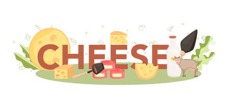 Cheese typographic header concept. Professional chef making block of cheese. Cooker in professional uniform, holding a cheese slice. Cheese production. Isolated vector illustration