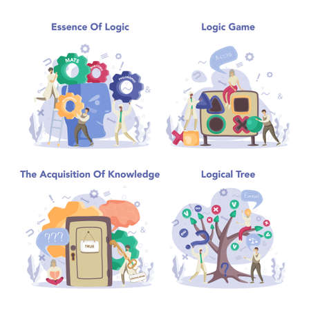 Logician concept set. Scientist systematicly study of the forms of inference. Thinking process, the systematic exposition of the logical forms. Isolated vector illustration