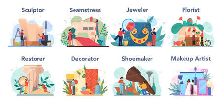 Artistic occupation set. Florist and sculptor, restorer and make up artist. Collection of hobby and modern profession. Isolated vector illustration in cartoon style Stockfoto - 151507975