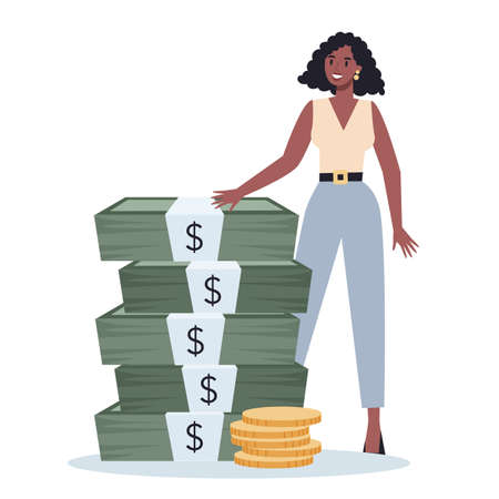 Business character with money. Happy successful employee with a pile of coin, standing by the banknotes and big bag full of cash. Financial well-being. 일러스트