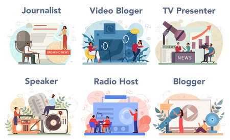 Journalist concept set. Newspaper, internet and radio journalism. TV reporter , video blogger, radio host, speaker. Mass media profession. Vector illustration in cartoon style