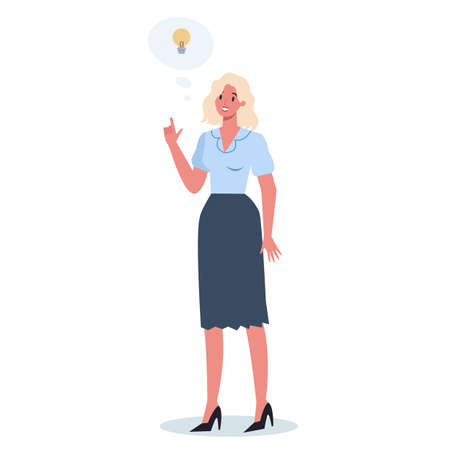 Thoughtful business people. Woman thinking in search of solutions to problem. Brooding person. Isolated vector illustration in cartoon style