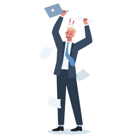 Stressed and angry business person. Male character are shouting with anger. Deadline and stressful lifestyle concept. Vector illustration in cartoon style Banque d'images - 151504783
