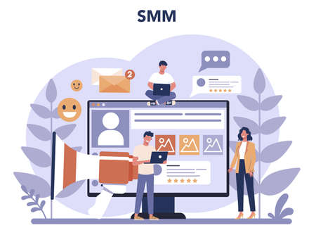 SMM social media marketing concept. Advertising of business in the internet through social network. Like and share content. Isolated flat illustration