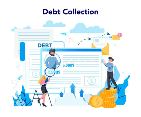 Debt collector concept. Pursuing payment of debt owed by person or businesses company. Collecting agency looking for people who doesn't pay bills. Vector illustration in cartoon style Banque d'images - 151509633