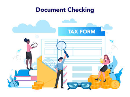 Tax inspector concept. Idea of accounting and payment. Financial bill, financial legislation compliance monitoring. Data in the document and paperwork. Flat vector illustration Ilustrace