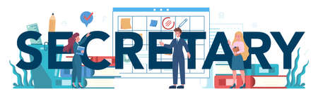 Secretary typographic header concept. Receptionist answering calls and assisting with document. Professional office worker at the desk on computer. Isolated flat vector illustration Vectores
