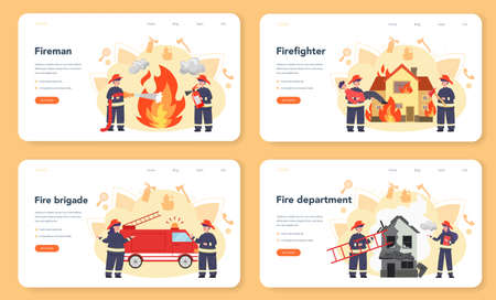 Fireman web banner or landing page set. Professional fire brigade