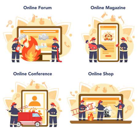 Fireman online service or platform set. Professional fire brigade