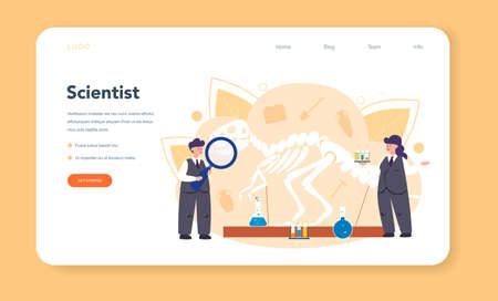 Historian web banner or landing page. History science, paleontology