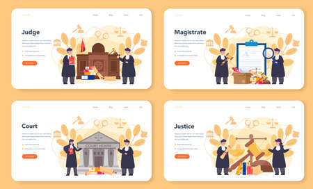 Judge web banner or landing page set. Court worker stand for justice