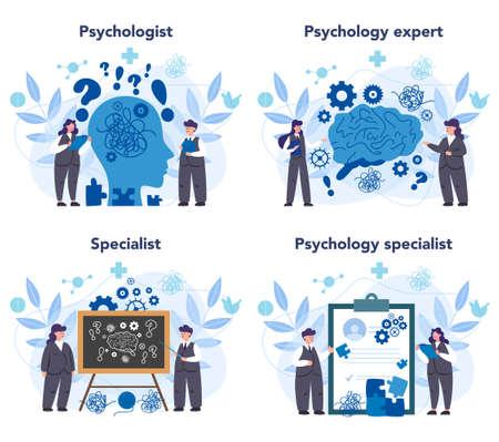 Professional psychologist set. Therapist giving professional treatment. Mental