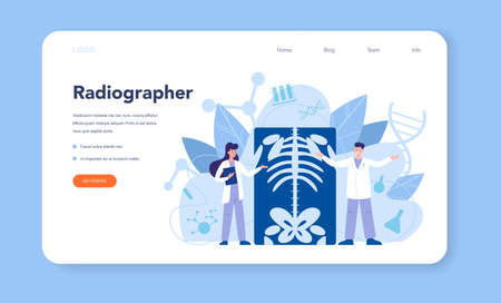 Radiologist web banner or landing page. Doctor examing X-ray