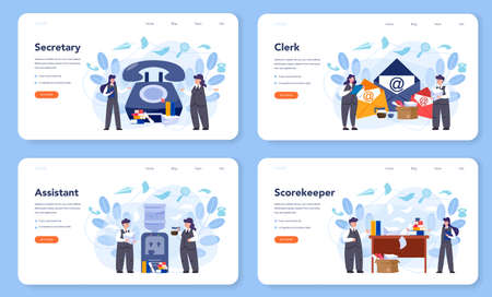 Secretary web banner or landing page set. Receptionist answering