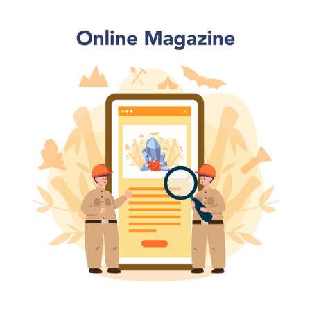 Speleologist online service or platform. Studying caves and other