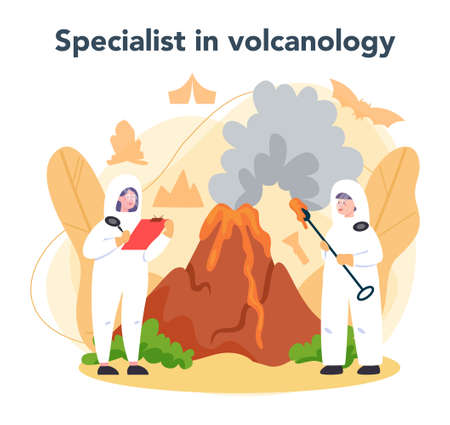 Volcanologist concept. Geologist studying the processes and activity Vecteurs