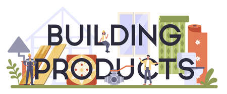 Building products industry typographic header. Home repair