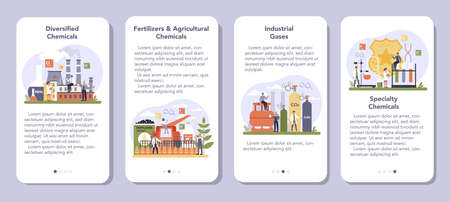 Chemical industry mobile application banner set. Industrial chemistry