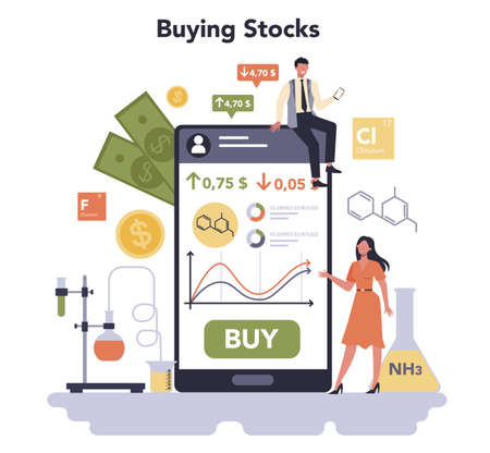 Chemical industry stock buying. Industrial chemistry and chemicals Illustration