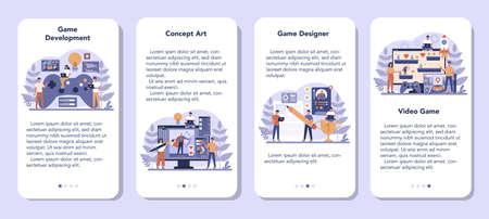 Game development mobile application banner set. Creative process Illusztráció