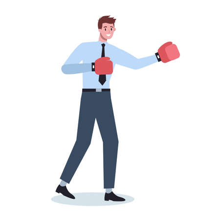 Business character wearing red boxing gloves. Male character staying Illustration