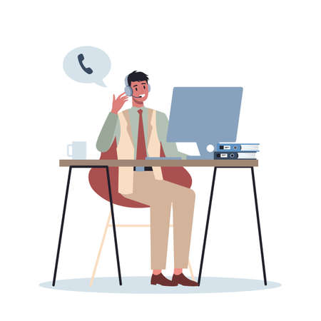 Business character with headphone. Call center office concept. Stock Illustratie