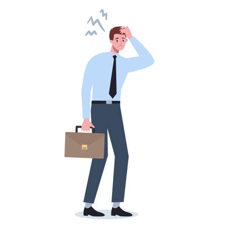 Exhausted business man. Business character with lack of energy. Illustration