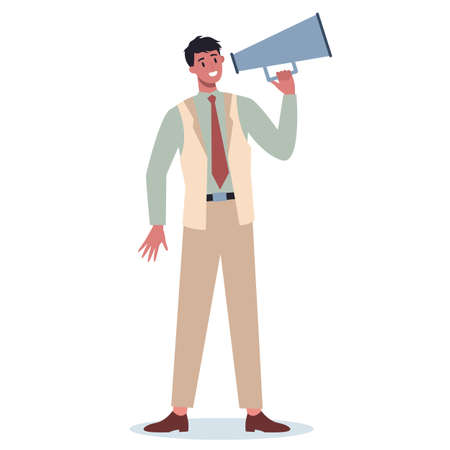 Business character standing with megaphone. Making special
