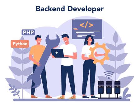 Back end development concept. Software development process. Vektorové ilustrace