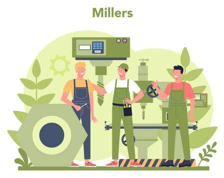 Miller and milling concept illustration. Engineer drilling metal Vecteurs